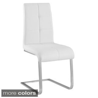 Kolt Brushed Stainless Faux Leather Side Chairs (Set of 2)