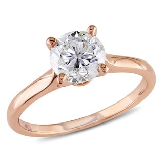 Miadora 14k Rose Gold 1 3/8ct TDW Diamond Solitaire Ring (J, I1-I2)