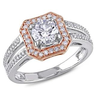Miadora 14k Two-tone Pink and White Gold 1ct TDW Diamond Halo Ring (G-H, I1-I2)