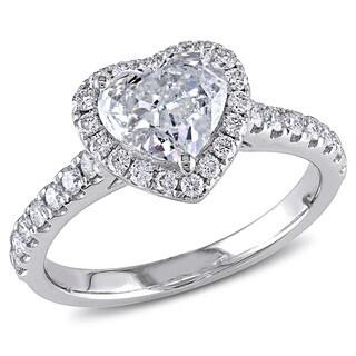 Miadora Signature Collection 14k White Gold 1 1/3ct TDW Heart Diamond Ring (H-I, I1-I2)