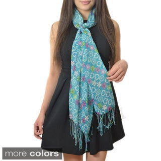 LA77 Women's Groovy Floral Novelty Print Wrap Scarf