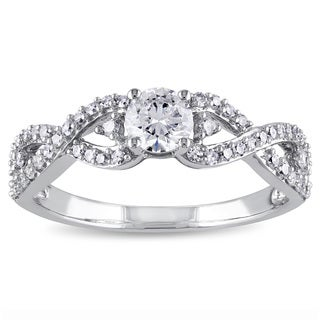 Miadora 14k White Gold 3/4ct TDW Infinity Diamond Engagement Ring (G-H, I1-I2)