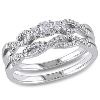 Miadora 10k White Gold 1/3ct TDW Braided Vintage Diamond Bridal Set (H-I, I2-I3)