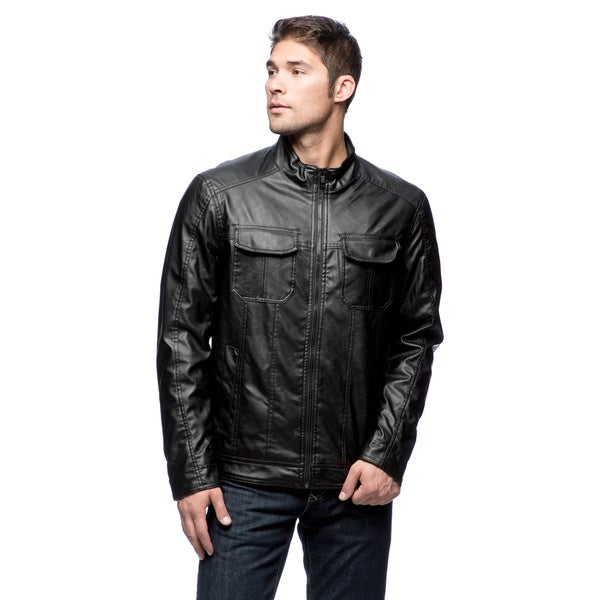 Excelled Men's Faux Leather Multi-pocket Hipster Jacket