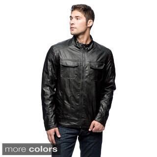 Excelled Men's Faux Leather Multi-pocket Hipster Jacket