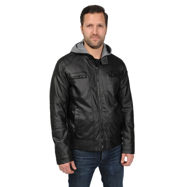 EXcelled Men's Motorcycle Jacket with Attached Jersey Hood