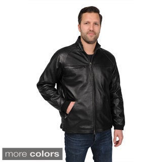 Men's Open Bottom Lamb Leather Jacket with Diagonal Stitch Detail