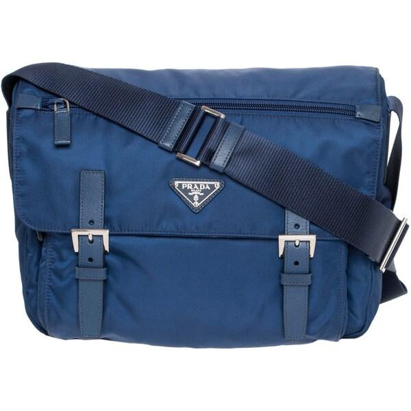 Prada Royal Blue Vela Messenger Bag - 16471367 - Overstock.com ...