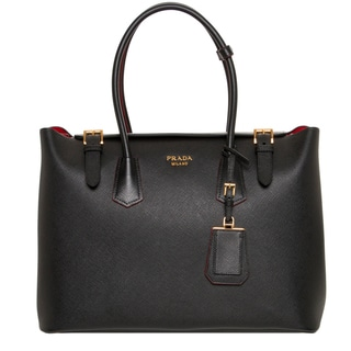 Prada Black Saffiano Cuir Leather Tote Handbag