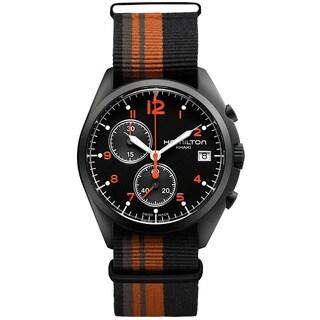 Hamilton Men's H76582933 Pilot Pioneer Black/ Orange Nylon Strap Watch