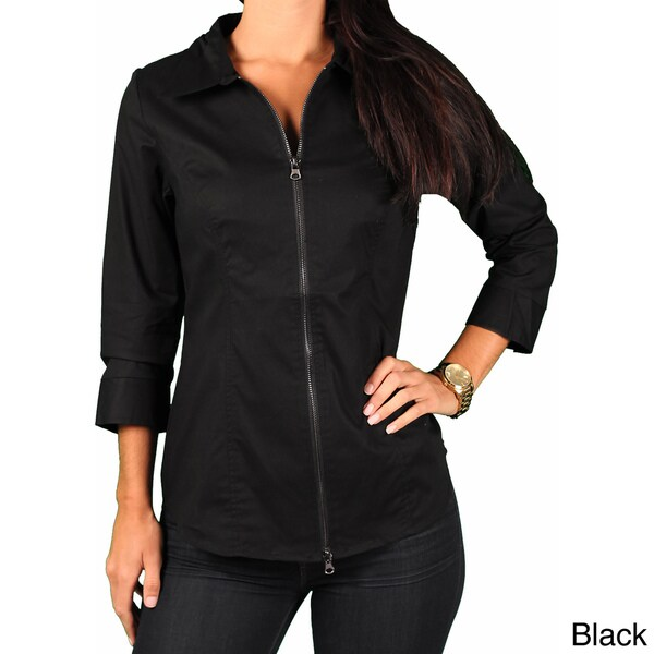 Ninety Women's Zip Front Blouse with Lace Insert