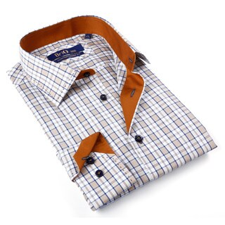 Brio Milano Men's Blue and Beige Plaid Button-down Shirt