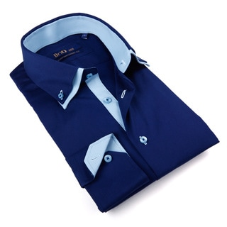 Brio Milano Men's Solid Blue Button-down Shirt