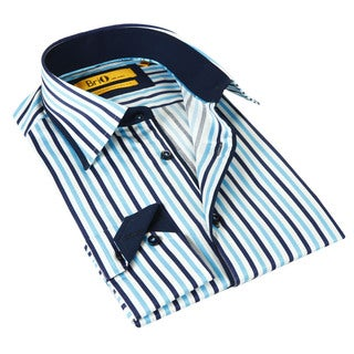 Brio Milano Men's Navy and Blue Striped Button-down Shirt