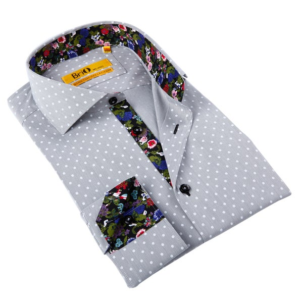 Brio Milano Men's Grey Polka Dot/ Floral Trim Button-down Shirt