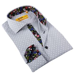 Brio Milano Men's Grey Polka Dot/ Floral Trim Button-down Shirt