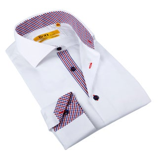 Brio Milano Men's White/ Gingham Trim Button-down Shirt