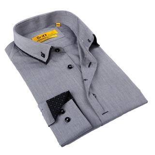 Brio Milano Men's Black and Grey Button-down Shirt