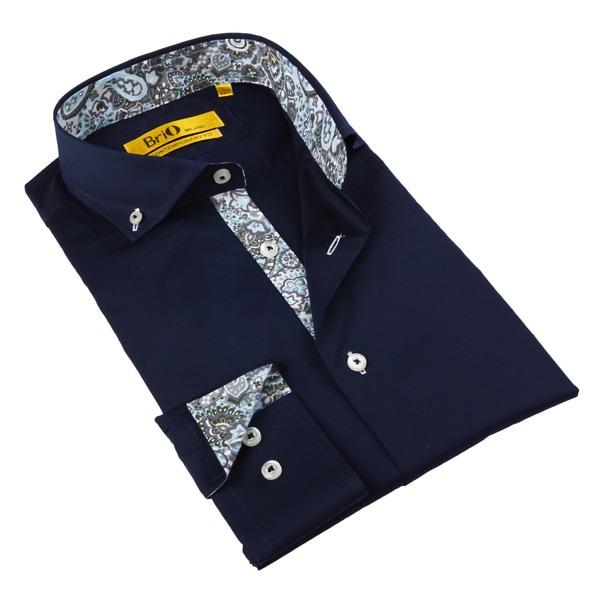 Brio Milano Men's Navy and Paisley Trim Button-down Shirt