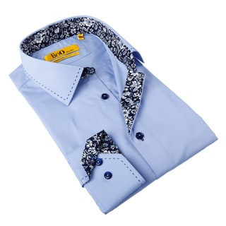 Brio Milano Men's Light Blue/ Floral Trim Button-down Shirt
