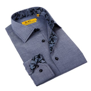 Brio Milano Men's Chambray and Paisley Button-down Shirt