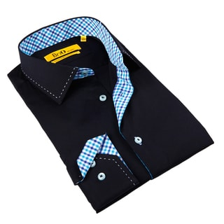 Brio Milano Men's Navy/ Gingham-trim Button-down Shirt