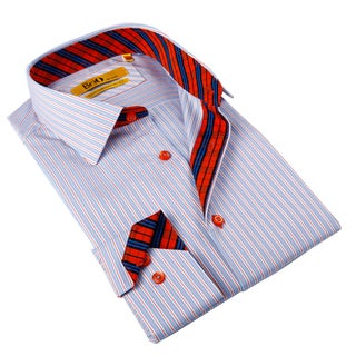 Brio Milano Men's Blue and Red Striped Button-down Shirt