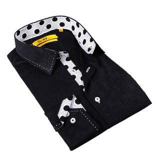 Brio Milano Men's Black Polka-dot Trim Button-down Shirt