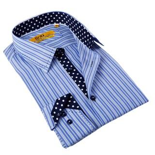 Brio Milano Men's Blue Contrast-trim Button-down Fashion Shirt