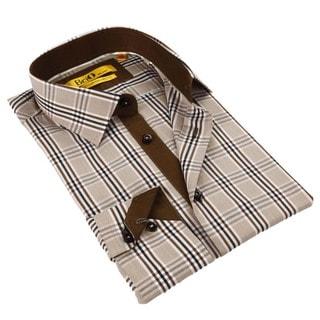 Brio Milano Men's Brown and Beige Plaid Button-down Shirt