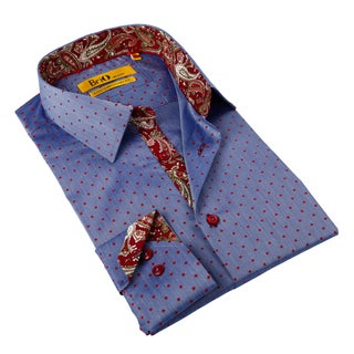 Brio Milano Men's Blue/ Red Dotted Button-down Shirt
