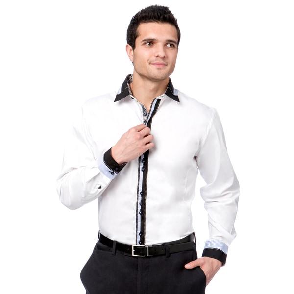 Brio Milano Men's White Paisley Trim Striped Button-down Shirt 13696659