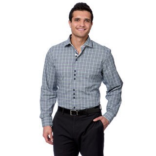 Brio Milano Men's Navy and White Plaid Pattern Button-down Shirt