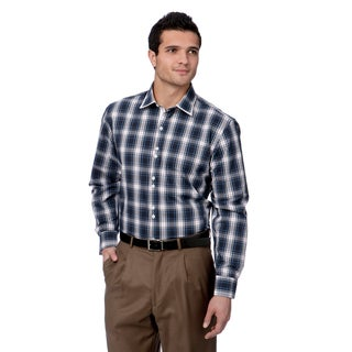 Brio Milano Men's Navy and White Plaid Button-down Shirt