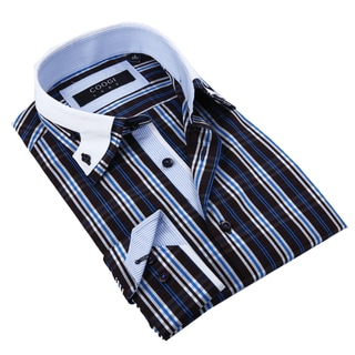 Coogi Luxe Men's Blue and Black Plaid Button-down Shirt
