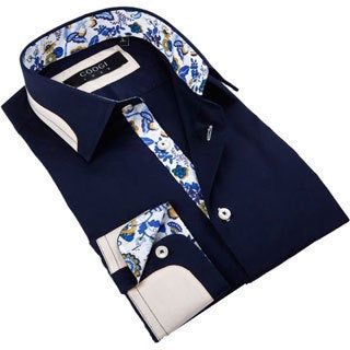 Coogi Luxe Men's Solid Navy Button Down Fashion Shirt with Paisley Trim