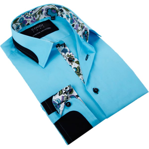 Coogi Luxe Men's Paris Blue Button Down Fashion Shirt with Paisley Trim