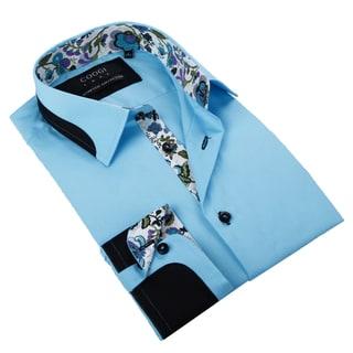 Coogi Luxe Men's Paris Blue Button Down Fashion Shirt with Paisley Trim