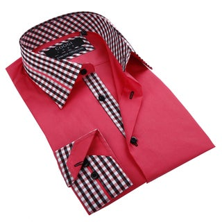 Coogi Luxe Men's Red Button Down Fashion Shirt with Checkered Trim