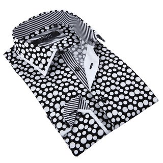 Coogi Luxe Men's White/ Black Polka-dot Button Down Fashion Shirt with Striped Trim