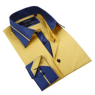 Coogi Luxe Men's Mustard Button Down Fashion Shirt with Geo Blue Trim