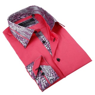 Coogi Luxe Men's Red Button Down Fashion Shirt with Abstract Trim