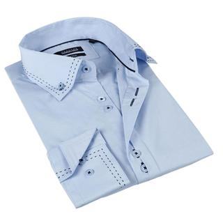 Brio Milano Men's Light Blue Button Down Fashion Shirt with Stitching Details