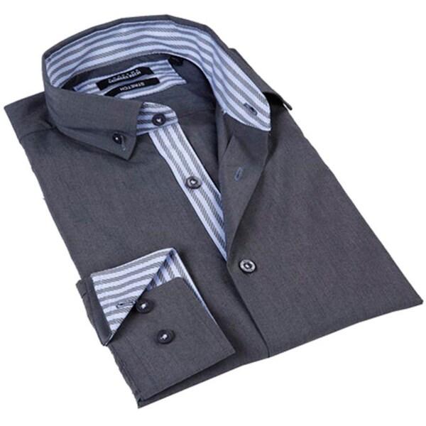 Brio Milano Men's Grey Button Down Fashion Shirt with Blue Stripe Trim