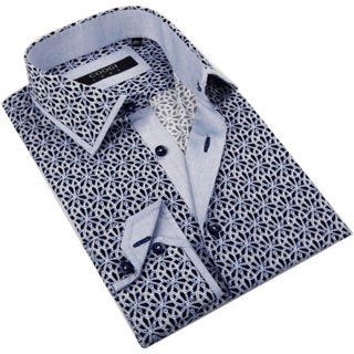 Coogi Luxe Men's Light Blue/ Navy Novelty Print Button Down Fashion Shirt