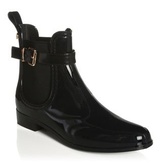 Henry Ferrera New York Women's Black Gore Moto Rain Ankle Bootie with Belt Detail at Shaft