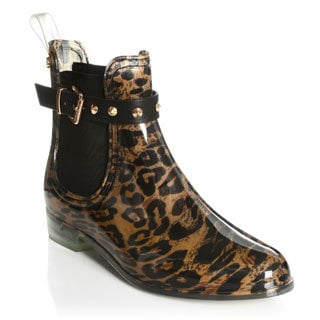 Henry Ferrera Women's Leopard Printed Ankle Rain Booties
