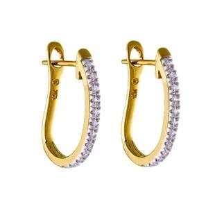 Beverly Hills Charm 10k Yellow Gold 1/10ct TDW Diamond Hoop Earrings (H-I, I2-I3)