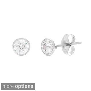 Sterling Essentials Sterling Silver 4 mm Bezel-set Cubic Zirconia Stud Earrings