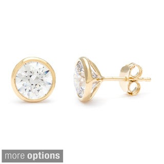 Sterling Essentials Sterling Silver 8 mm Bezel-set Cubic Zirconia Stud Earrings